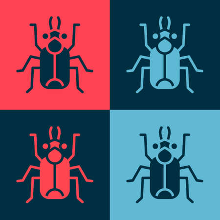 Pop art Beetle bug icon isolated on color background. Vector.