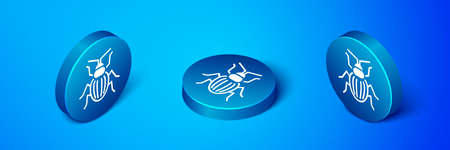 Isometric Chafer beetle icon isolated on blue background. Blue circle button. Vector. Illusztráció
