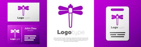 Logotype Dragonfly icon isolated on white background.