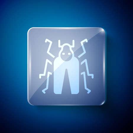 White Beetle bug icon isolated on blue background. Square glass panels. Vector. Illusztráció
