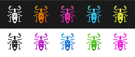Set Beetle deer icon isolated on black and white background. Horned beetle. Big insect. Vector.