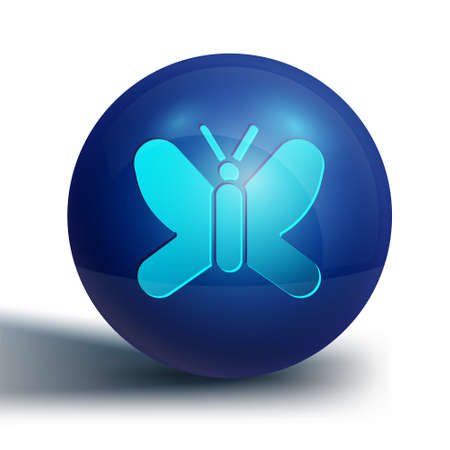 Blue Butterfly icon isolated on white background. Blue circle button. Vector.