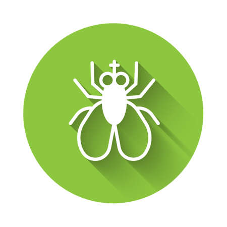 White Insect fly icon isolated with long shadow. Green circle button. Vector.