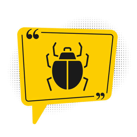 Black Mite icon isolated on white background. Yellow speech bubble symbol. Vector.