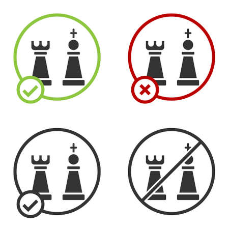 Black Chess icon isolated on white background. Business strategy. Game, management, finance. Circle button. Vector. Vettoriali