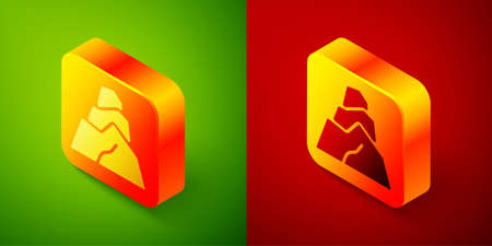 Isometric Rock stones icon isolated on green and red background. Square button. Vector.