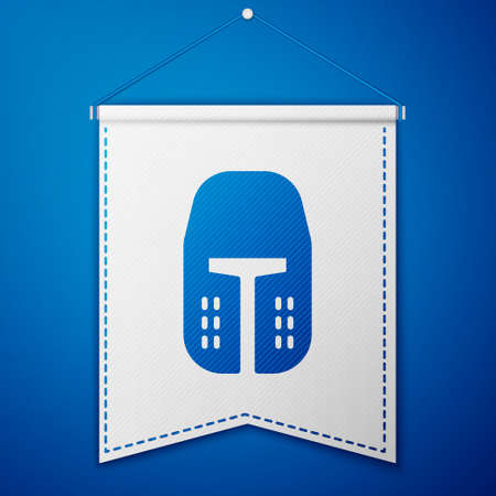 Blue Medieval iron helmet for head protection icon isolated on blue background. White pennant template. Vector. Vettoriali