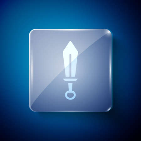 White Sword toy icon isolated on blue background. Square glass panels. Vector.