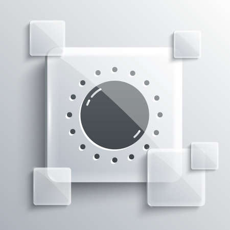 Grey Sun icon isolated on grey background. Square glass panels. Vector.