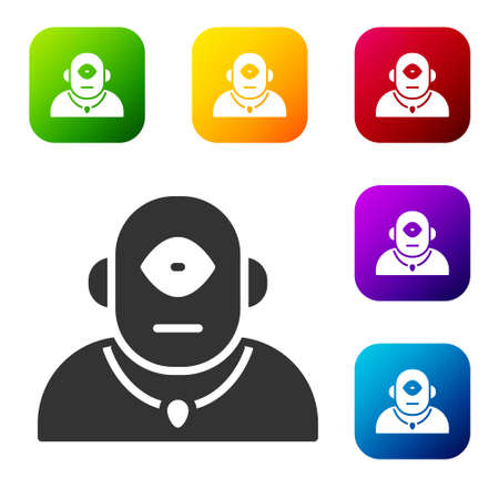 Black Cyclops icon isolated on white background. Set icons in color square buttons. Vector.