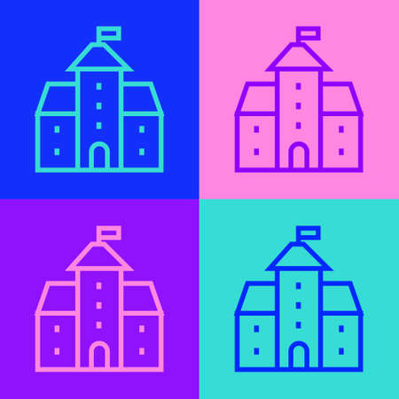 Pop art line Castle icon isolated on color background. Medieval fortress with a tower. Protection from enemies. Reliability and defense of the city. Vector. Vettoriali