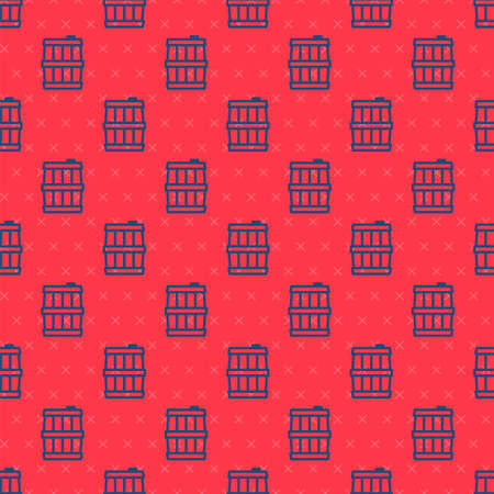 Blue line Wooden barrel icon isolated seamless pattern on red background. Alcohol barrel, drink container, wooden keg for beer, whiskey, wine. Vector.