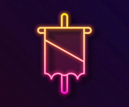Glowing neon line Medieval flag icon isolated on black background. Country, state, or territory ruled by a king or queen. Vector.