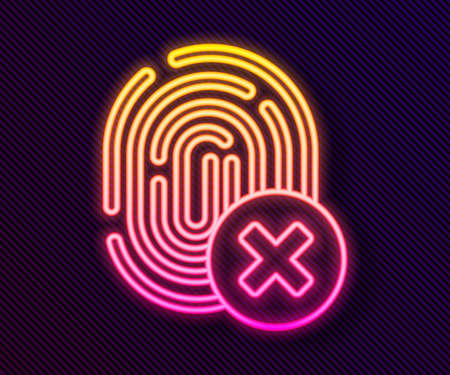 Glowing neon line Cancelled fingerprint icon isolated on black background. Access denied for user concept. Error, fraud. Identification sign. Touch id. Vector.