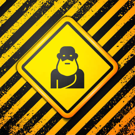 Black Socrates icon isolated on yellow background. Sokrat ancient greek Athenes ancient philosophy. Warning sign. Vector.