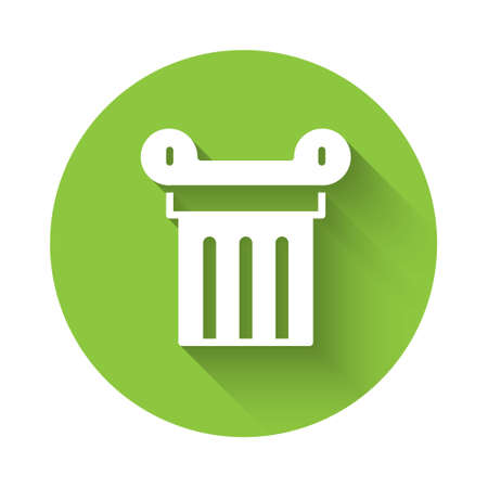 White Ancient column icon isolated with long shadow. Green circle button. Vector. Vettoriali