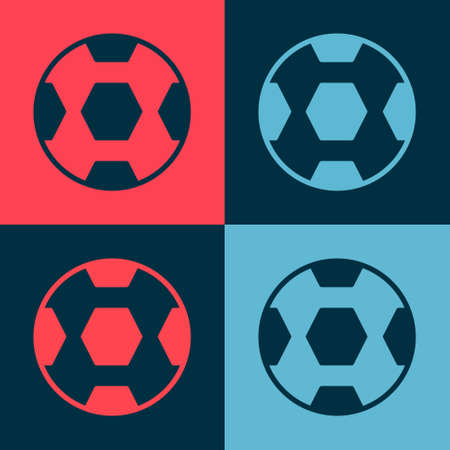 Pop art Football ball icon isolated on color background. Soccer ball. Sport equipment.  Vector.