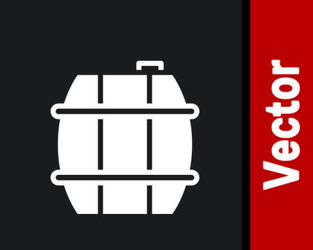White Wooden barrel for wine icon isolated on black background. Vector.