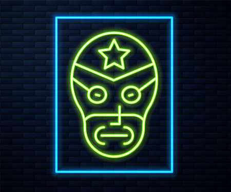 Glowing neon line Mexican wrestler icon isolated on brick wall background. Vector.