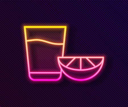 Glowing neon line Tequila glass with lemon icon isolated on black background. Mexican alcohol drink. Vector.