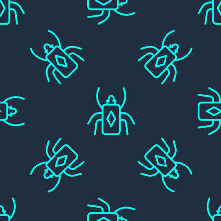Green line Beetle bug icon isolated seamless pattern on blue background. Vector.