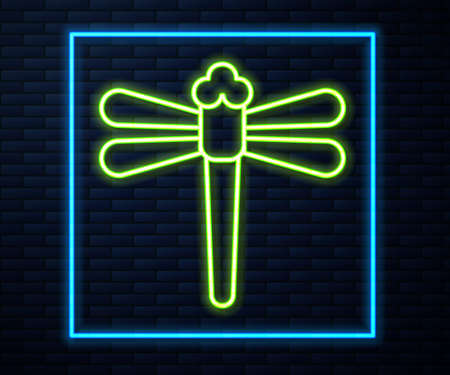 Glowing neon line Dragonfly icon isolated on brick wall background. Vector.