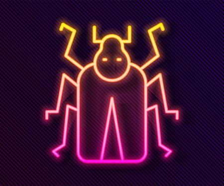 Glowing neon line Beetle bug icon isolated on black background. Vector.