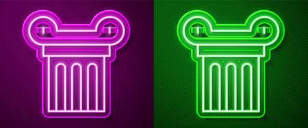 Glowing neon line Ancient column icon isolated on purple and green background. Vector.