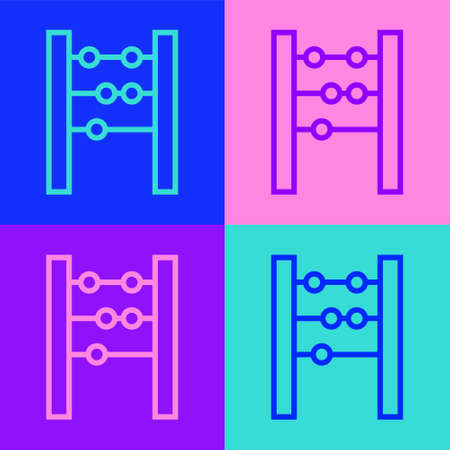 Pop art line Abacus icon isolated on color background. Traditional counting frame. Education sign. Mathematics school. Vector.