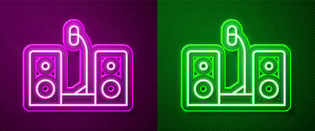 Glowing neon line Home stereo with two speaker s icon isolated on purple and green background. Music system. Vector.
