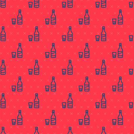 Blue line Bottle of vodka with glass icon isolated seamless pattern on red background. Vector. Illustration