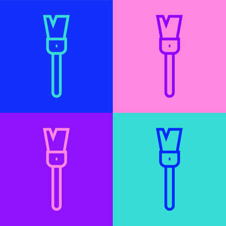Pop art line Paint brush icon isolated on color background. For the artist or for archaeologists and cleaning during excavations. Vector.