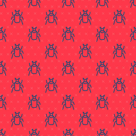 Blue line Beetle bug icon isolated seamless pattern on red background. Vector.