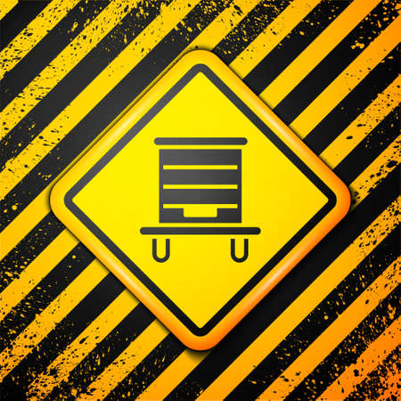 Black Hive for bees icon isolated on yellow background. Beehive symbol. Apiary and beekeeping. Sweet natural food. Warning sign. Vector.