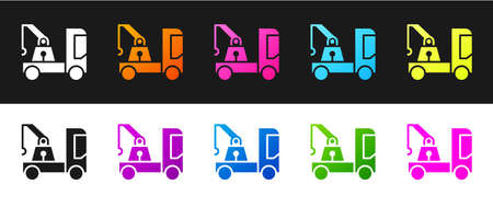 Set Tow truck icon isolated on black and white background. Vector Illustration 矢量图像