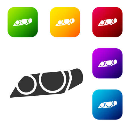 Black Car headlight icon isolated on white background. Set icons in color square buttons. Vector Illustration Illustration