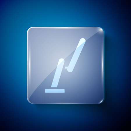 White Windscreen wiper icon isolated on blue background. Square glass panels. Vector Illustration