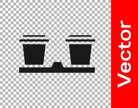 Black Coffee cup to go icon isolated on transparent background. Vector Illustration Çizim