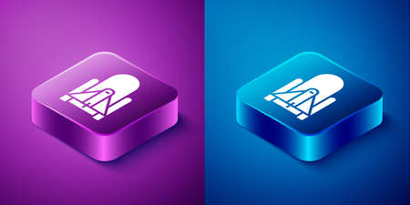 Isometric Rocket launch from the spaceport icon isolated on blue and purple background. Launch rocket in space. Square button. Vector Illustration 일러스트