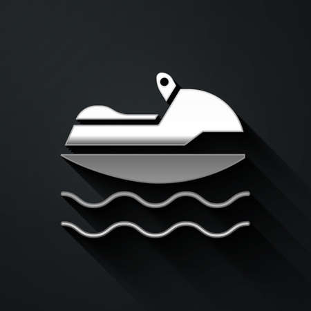 Silver Jet ski icon isolated on black background. Water scooter. Extreme sport. Long shadow style. Vector Illustration