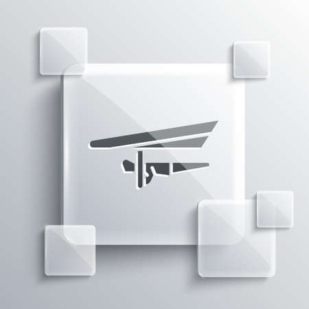Grey Hang glider icon isolated on grey background. Extreme sport. Square glass panels. Vector Illustration