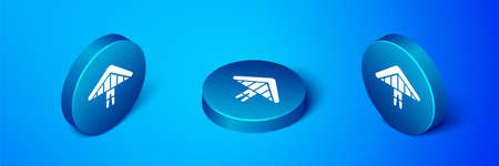 Isometric Hang glider icon isolated on blue background. Extreme sport. Blue circle button. Vector Illustration