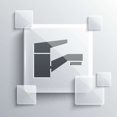 Grey Water tap icon isolated on grey background. Square glass panels. Vector Illustration Reklamní fotografie - 151439334