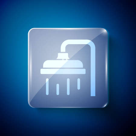White Shower head with water drops flowing icon isolated on blue background. Square glass panels. Vector Illustration