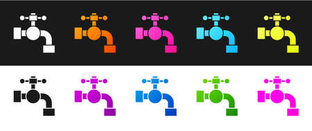 Set Water tap icon isolated on black and white background. Vector Illustration Reklamní fotografie - 151439339