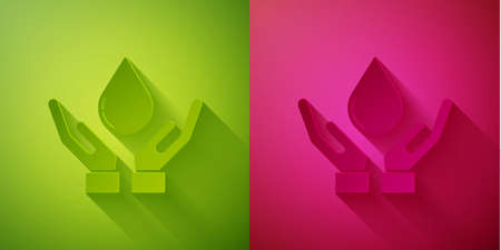 Paper cut Washing hands with soap icon isolated on green and pink background. Washing hands with soap to prevent virus and bacteria. Paper art style. Vector Illustration