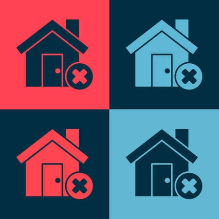 Pop art House with wrong mark icon isolated on color background. Home and close, delete, remove symbol. Vector Illustration 向量圖像