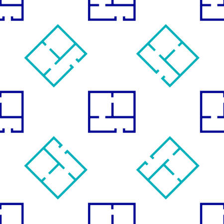 Blue House plan icon isolated seamless pattern on white background. Vector Illustration Reklamní fotografie - 151440049