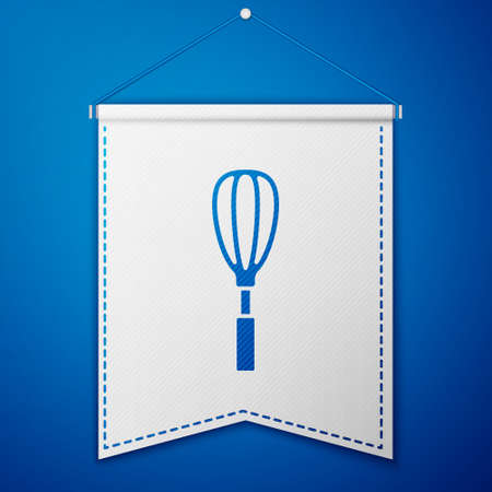 Blue Kitchen whisk icon isolated on blue background. Cooking utensil, egg beater. Cutlery sign. Food mix symbol. White pennant template. Vector Illustration Ilustração