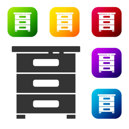 Black Drawer with documents icon isolated on white background. Archive papers drawer. File Cabinet Drawer. Office furniture. Set icons in color square buttons. Vector Illustration